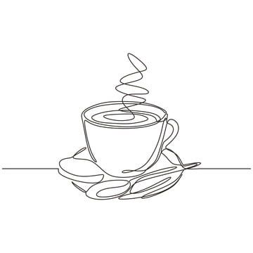 Cup Of Coffee One Line Drawing With Plate And Spoon Continuous Hand Drawn Vector Illustration Coffee Line Cup Png And Vector With Transparent Background For Hand Drawn Vector Illustrations Line