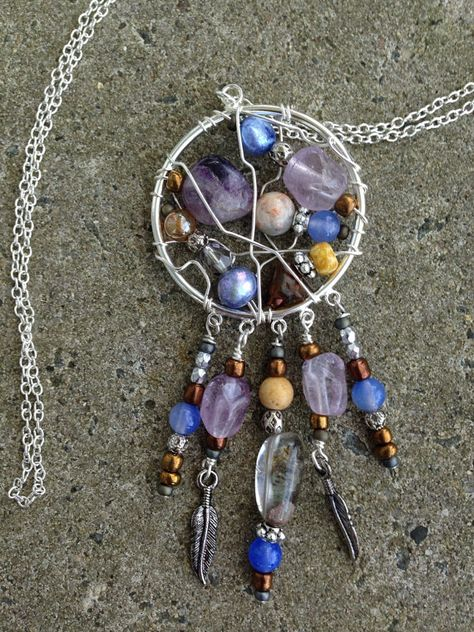 silver plated wire wrapped dream catcher pendant by blissfullyliss