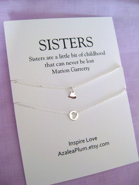 Birthday Gift for 2 Sisters, Solid Sterling Silver Necklace, Sister Birthday Gift, Sister Necklace , Sterling silver Sister Gift