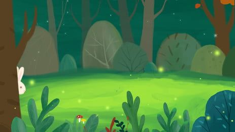 Fresh Green Cartoon Forest Lost Bunny Background Element Forest Cartoon Cartoon Background Forest Illustration