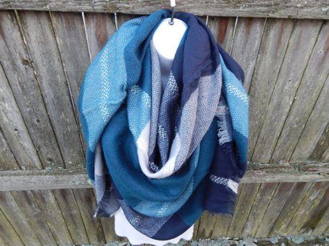 Petrol Navy Blau Grau Decke Schal Schal Blau Grau