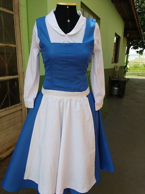 Cosplay Belle (The Beauty and the Beast) Disney, peasant version Blue dress costume handmade