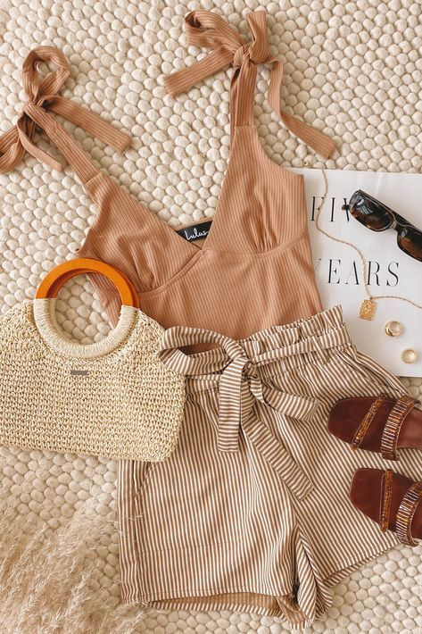 Lulus Exclusive! You'll be looking and feeling good in the Lulus It's a Delight Tan Ribbed Tie-Strap Bodysuit! Ribbed stretch knit shapes this cute bodysuit that has tying straps, a V-neckline, and lightly gathered, seamed triangle cups. Pair this simple top with striped shorts for a cute neutral summer outfit. #lovelulus