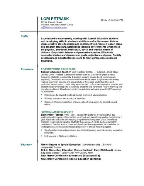 resume format for teacher teachers best profile examples and cover - extracurricular activities resume