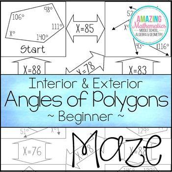 interior exterior angles of polygons maze beginner exterior