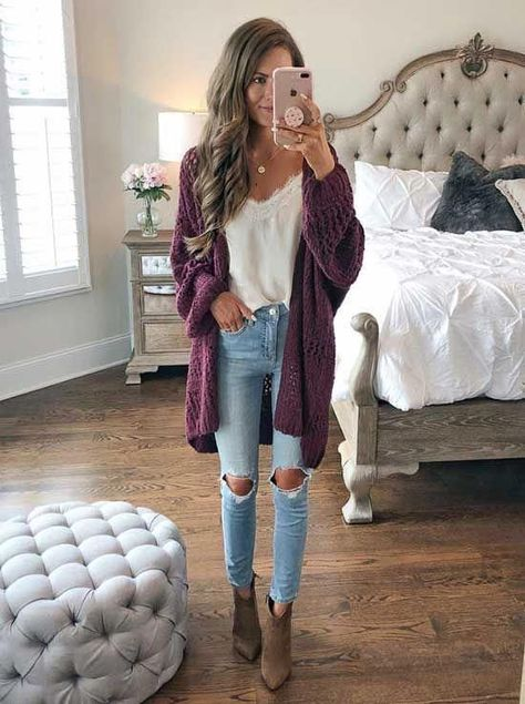 Fall Outfit Idea with Cropped Jeans and Sam Edelman Brown Boots Casual Fall Outfits You Must Buy Now. Women's Fashion. Chic And Comfy Casual Winter, Fall Winter Outfits, Autumn Winter Fashion, Purple Fall Outfits, Purple Cardigan Outfits, Cold Spring Outfit, Winter White, Stylish Winter Outfits, Winter Cardigan Outfit