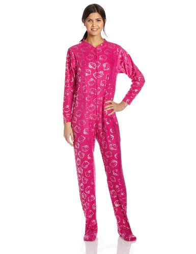 4d068e90a Hello Kitty Junior's Follow The Glow with Silver Foil Jumpsuit, Hot Pink,  Small at Amazon Women's Clothing store: Pajama Sets