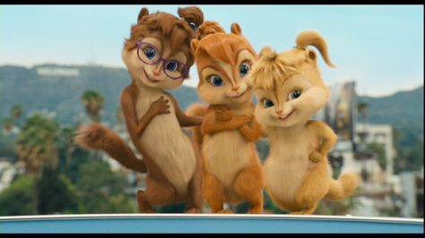 The Chipettes are a group of female chipmunks in the Alvin and the Chipmunks series. Individual art is found on their pages of Brittany Miller (cognate of Alvin Seville), Eleanor Miller (cognate of Theodore Seville) and Jeanette Miller (cognate of Simon Seville). Group art of just the trio is pictured here. Art depicting them with others is on the main series page. titled The Chipmunks