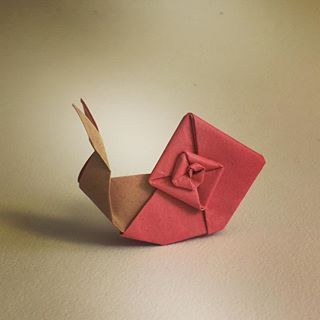 Take it slowly, breathe and bring oxygen to your heart. . Origami Snail (Eric… #OrigamiLife