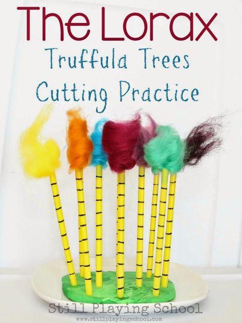 The Lorax Truffula Trees Fine Motor Scissor Cutting Practice for Kids from Still Playing School