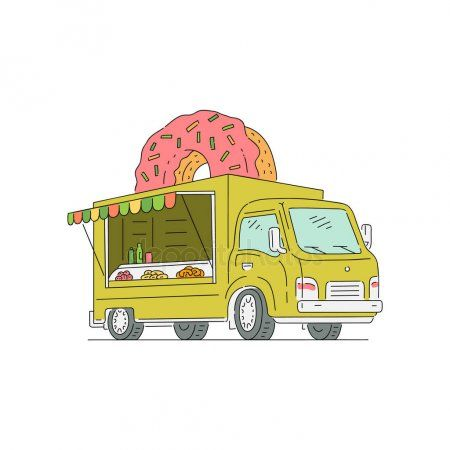 Street Fast Food Truck With Donut And Sweets Stock Vector