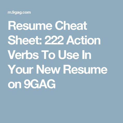 Resume Cheat Sheet 222 Action Verbs To Use In Your New Resume on - resume cheat sheet