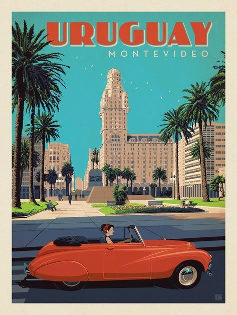 Vintage Travel Anderson Design Group – World Travel – Uruguay: Montevideo - Vintage Travel Posters, Vintage Postcards, Vintage Ads, Model Architecture, Uruguay Tourism, Tourism Poster, Retro Poster, Photo Vintage, Photo Images