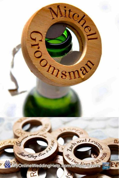 These personalized bottle opener favors make unique gifts for the wedding guests or wedding party. Look for more information and a buy link in the non-traditional wedding favor ideas post on MyOnlineWeddingHelp.com #WeddingIdeas #WeddingFavors #GuestGifts #BottleOpeners