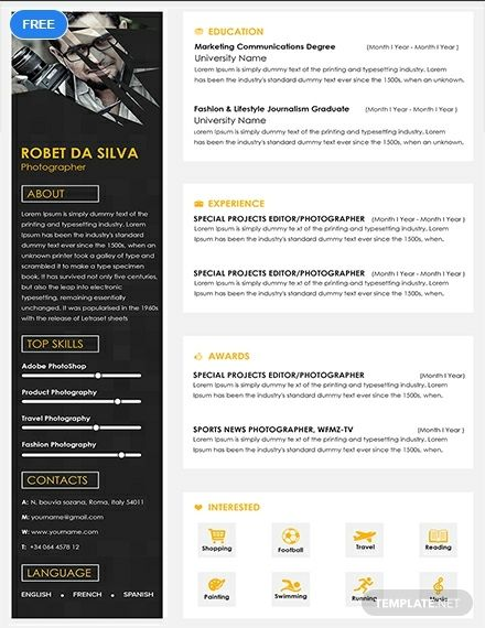 Senior Photographer Resume Cv Template Word Psd Apple Pages Publisher