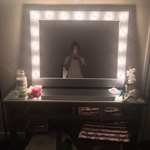 Super Sale Xl Hollywood Lighted Vanity Mirror Makeup With Lights Perfect For Ikea Malm Bulbs Not Included