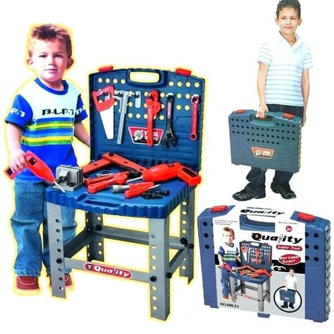 Kids Plastic Tool Box Home Improvement Cast Classic Children