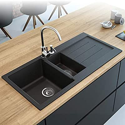 Black Kitchen Sink Lavello Decoro 150lt 39 Granite Sink Composite Double Bowl Big Range Of Kitch Black Kitchen Sink Black Undermount Kitchen Sink Granite Sink