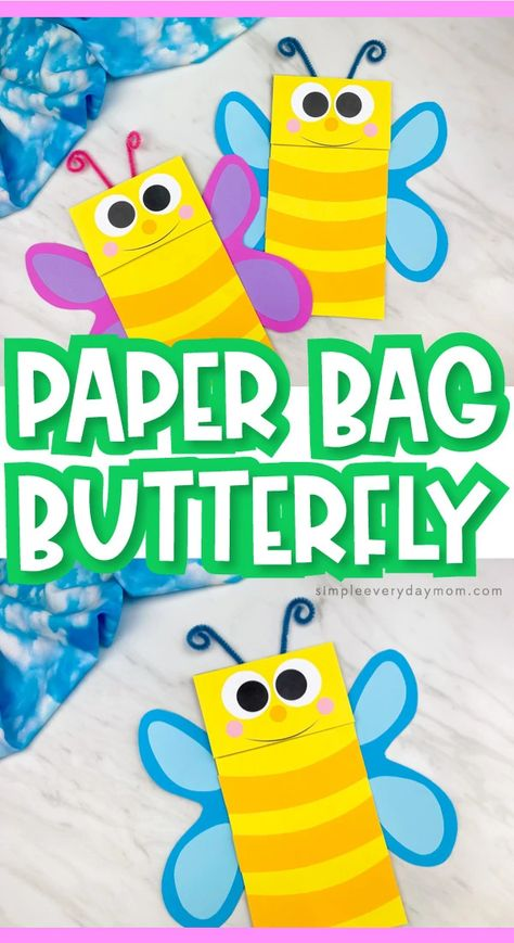 This easy brown paper bag butterfly craft for kids is a fun project for springtime or when learning about insects! Download the free printable template and make with preschool, pre k and kindergarten children. It's perfect for the classroom or for the home.#simpleeverydaymom #paperbagcrafts #kidscrafts #craftsforkids #preschoolcrafts #prekcrafts #kindergartencrafts #classroomcrafts #butterflycrafts #insectcrafts #easykidscrafts