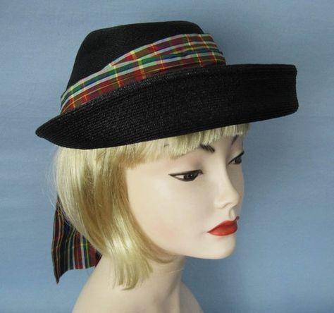 1950s Black Straw Hat   50s Kepi Hat   21