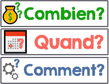 French Question Word Les Mots Interrogatifs Posters Word