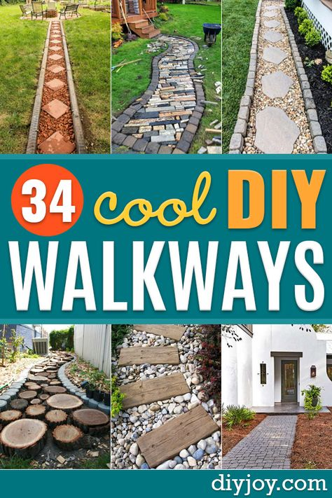 DIY Walkways - Do It Yourself Walkway Ideas for Paths to The Front Door and Backyard - Cheap and Easy Pavers and Concrete Path and Stepping Stones - Wood and Edging, Lights, Backyard and Patio Walks With Gravel, Sand, Dirt and Brick Backyard Walkway, Front Yard Landscaping, Walkway Ideas, Cheap Landscaping Ideas For Front Yard, Sidewalk Landscaping, Gravel Walkway, Flagstone Path, Outdoor Walkway, Railing Ideas