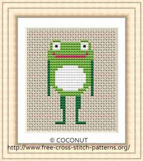 Beginner cross stitch pattern Easy cute pattern for kids Modern cross stitch Small Frog cross stitch pattern PDF