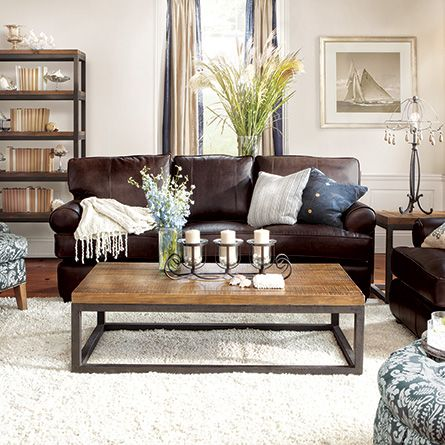 "Living Room Leather Sofas Hadley 89"" Leather Sofa In Napa Valley Chocolate  Leather Couches ."