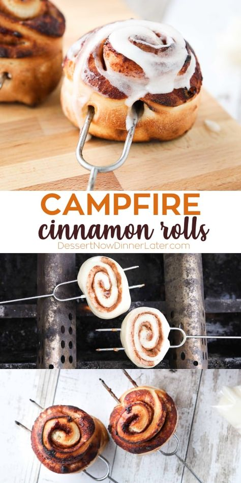 Campfire Cinnamon Rolls are pre-made for a quick and easy breakfast you can cook over a grill or campfire. They only take minutes to toast on a stick. campfire cinnamon rolls on a stick // campfire food // campfire cooking // campfire recipes / Campfire Breakfast, Campfire Food, Camping Breakfast Recipes, Breakfast Ideas, Easy Campfire Recipes, Brunch Recipes, Bonfire Food, Grill Breakfast, Dessert Recipes