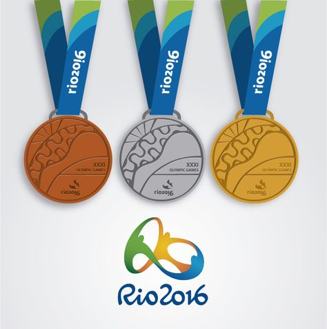 Bronze, silver and gold official medals design over a white background. Contains official logo.Rio 2016 logo can only be used for editorial use or with