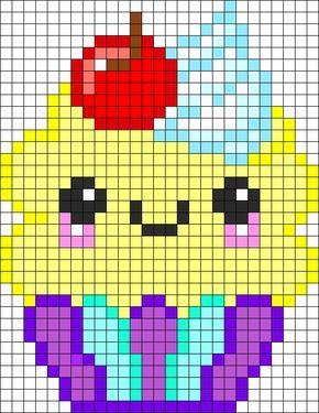Cup Cake Kawaï Pixel Art Gateau Visage Crochet Shopkins