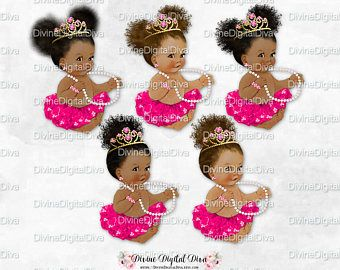 Princess Ballerina Burgundy Tutu Rose Gold Tiara Pearls Gems Sitting Baby Girl 3 Skin Tones Puffs Clipart Instant Download