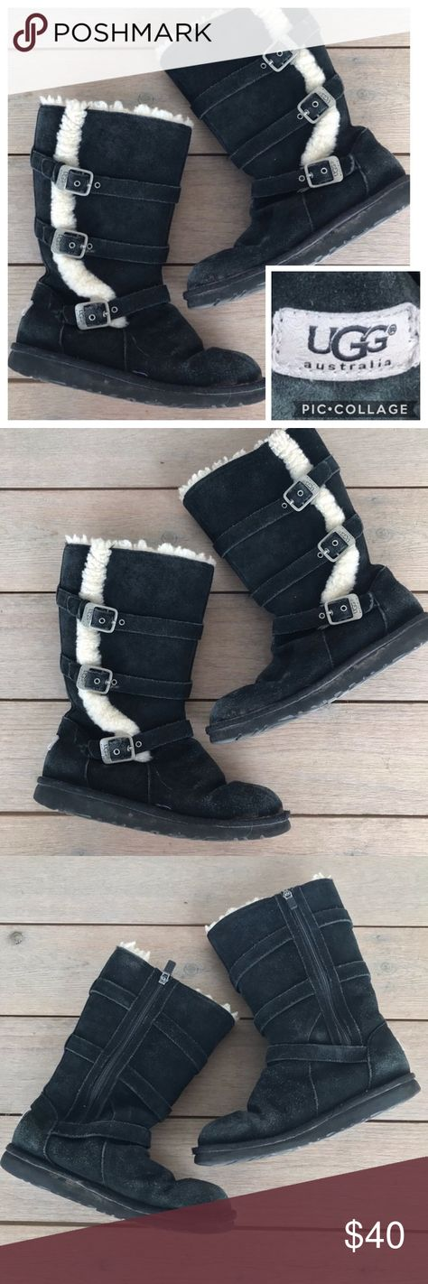 Black suede leather UGG boots. Style