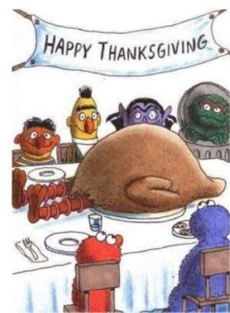 Sesame Street Thanksgiving Dinner: missing Oscar the grouch this year.
