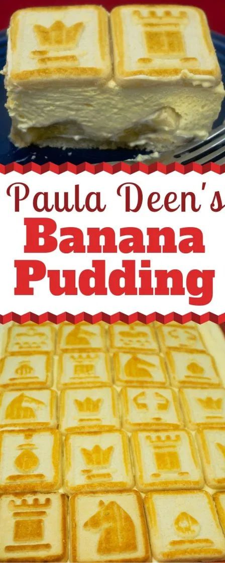 Paula Deen has a unique spin on a classic Banana Pudding recipe. She serves up a French Vanilla pudding with cream cheese that is so rich and creamy. And it's topped with Pepperidge Farm Chessman Butter cookies. How pretty! Paula Dean Banana Pudding, Classic Banana Pudding Recipe, Magnolia Bakery Banana Pudding, No Bake Banana Pudding, Banana Pudding Desserts, Banana Recipes, Paula Deen Banana Bread, Banana Pudding Recipe With Cream Cheese, Vanilla Pudding Recipes