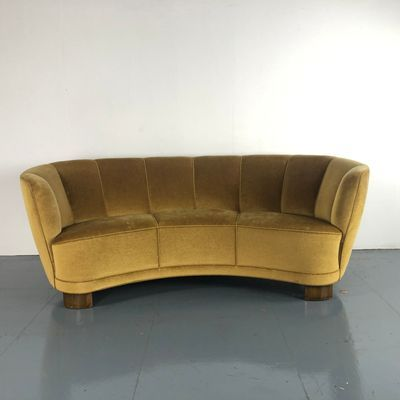Vintage Danish Olive Green Velvet Banana Sofa 1 Vintage Couch Green Velvet Green Sofa