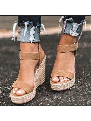 Women Ladies Platform Slingback Sandals Elastic Cross Strap Wedge Peep Toe Shoes