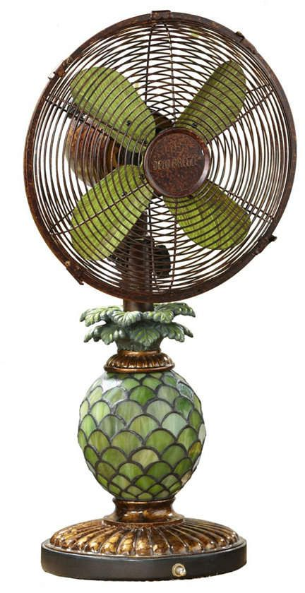 Decobreeze Table Fan With Lamp Mosaic Glass Pineapple Tropical Decor Tropical Home Decor Table Fan