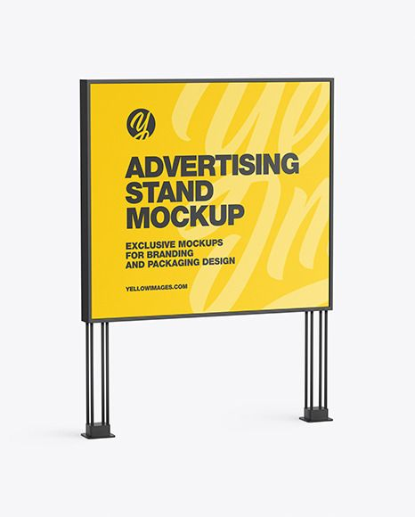 Led Display Stand Mockup In Outdoor Advertising Mockups On Yellow Images Object Mockups In 2021 Outdoor Advertising Mockup Display Stand Mockup