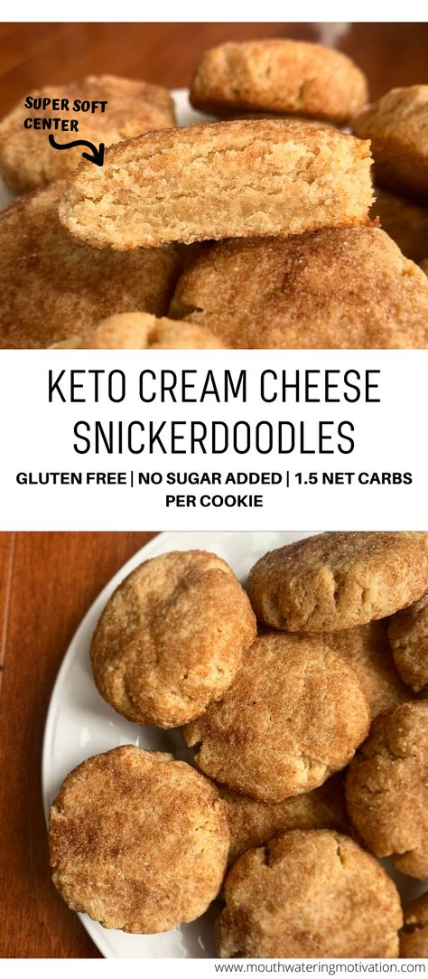 These keto cream cheese snickerdoodles are super soft in the middle with a slight browning to the outside Rolled in a delicious sweet sugary coating Super easy to make ketocookies lowcarbcookies ketosnickerdoodles lowcarbsnickerdoodles Keto Foods, Ketogenic Recipes, Keto Snacks, Ketogenic Diet, Dukan Diet, Diabetic Snacks, Keto Diet Plan, Low Carb Sweets, Low Carb Desserts