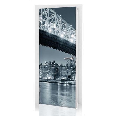 Adesivi per porte - New York by night 03 Una splendida decorazione ...