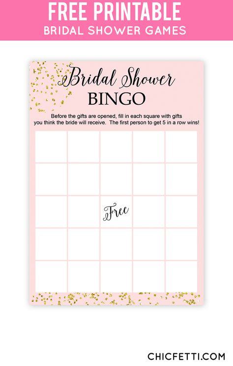 Free Printable Gold Bridal Shower Games from @chicfetti