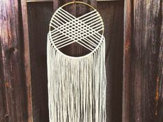 Round Woven Macrame Wall Hanging Dreamcatcher - Ivory/Gold