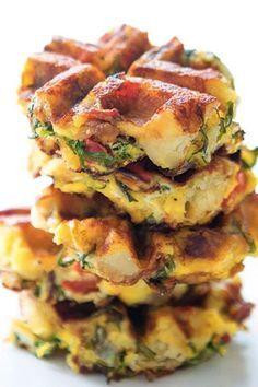 Waffles Fritatta. 22 Things You Can Make in Your Waffle Iron #purewow #waffles #waffleiron #comfortfood #recipes #waffleironrecipes #brunch #fritatta