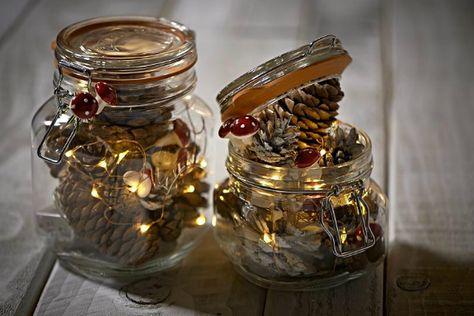 Kilner Jars Pine Cones Lights Kilner Jars Mason Jar Lighting Christmas Jars