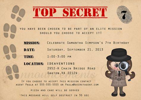5 X 7 Agent Secret Spy Détective Anniversaire Par