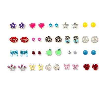 Statement studs: Assorted Bright Stud Earrings Set of 20