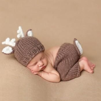 Baby Photo Props Boys Girls Handmade Hat with Bodysuits Sets Newborn Photography Props Outfits