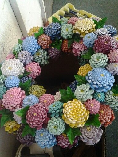 Painted Pinecone Wreath Wreath Crafts Painted Pinecones Pine Cone Crafts