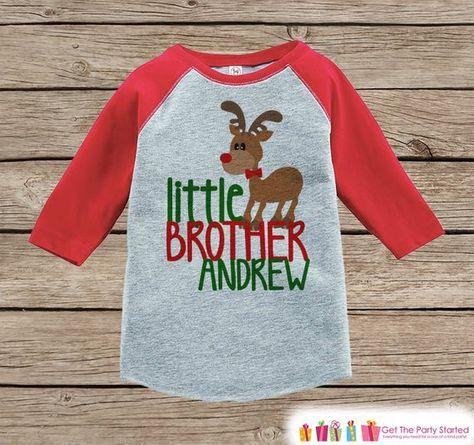 36cbd8eb9 Little Brother Christmas Outfit - Custom Holiday Shirt - Kids Reindeer  Shirt for Boys - Big Brother